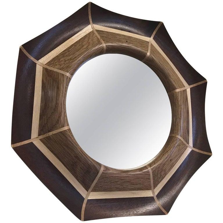 Custom Oak and Walnut with Maple Inlay Mirror