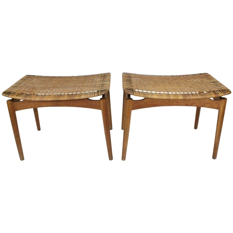 Pair of Danish, 1950s Oak and Cane Stools by Olholm