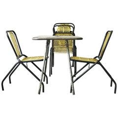 Midcentury Perforated Iron Garden Set