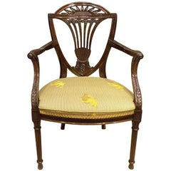 Fine Quality Mahogany Hepplewhite Style Carved Antique Armchair