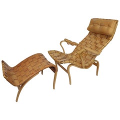 Swedish Pernilla Lounge Chair with Ottoman by Bruno Mathsson for Karl Mathsson