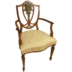 Edwardian Period Sheraton Revival Satinwood Painted Armchair