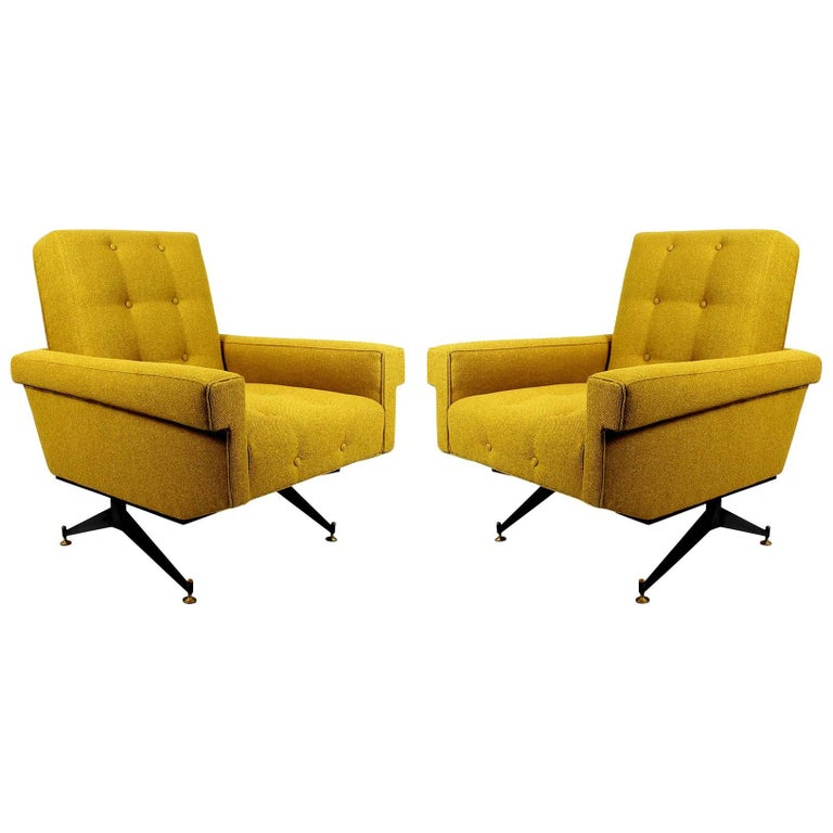 1960s Pair of Padded Armchairs, Yellow and Black, Steel, Upholstery, Italy