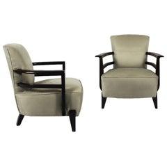 1930s Art Deco Pair of Low Armchairs, Dark Wood, Pearl Grey Velvet, France