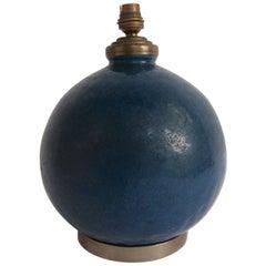 Blue Ceramic Lamp by Raoul Lachenal, circa 1930