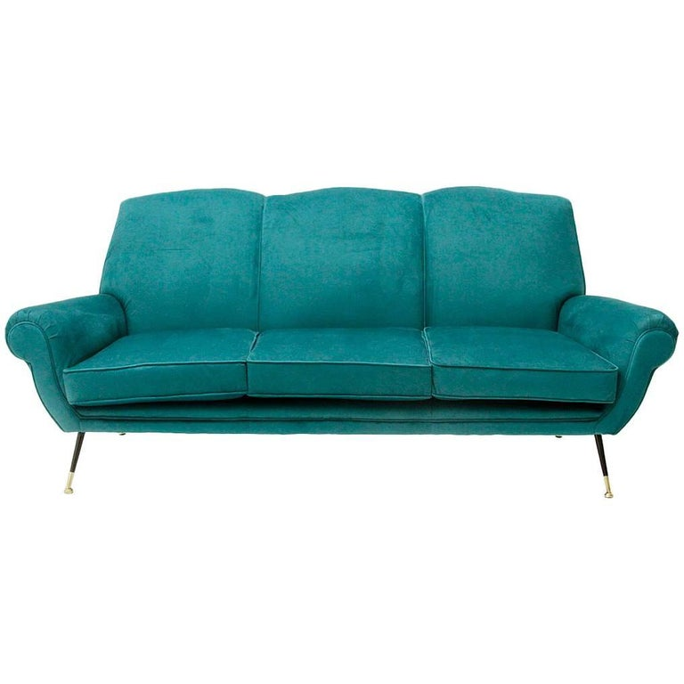 Italian Three-Seat Velvet Sofa