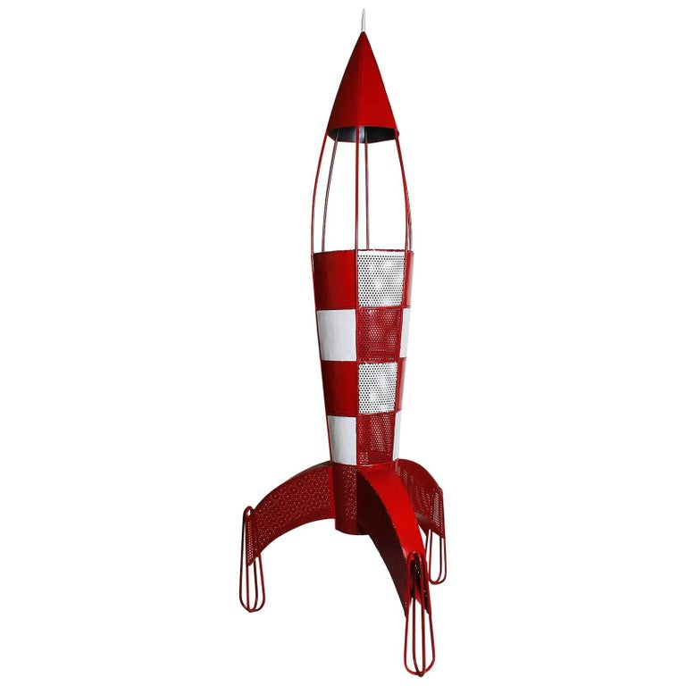 1960s Space Rocket Tintin Standing Lamp Steel Red And