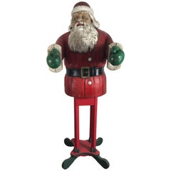 Turn of the Century Life Size Carved Wood and Painted Folk Art Santa Sculpture