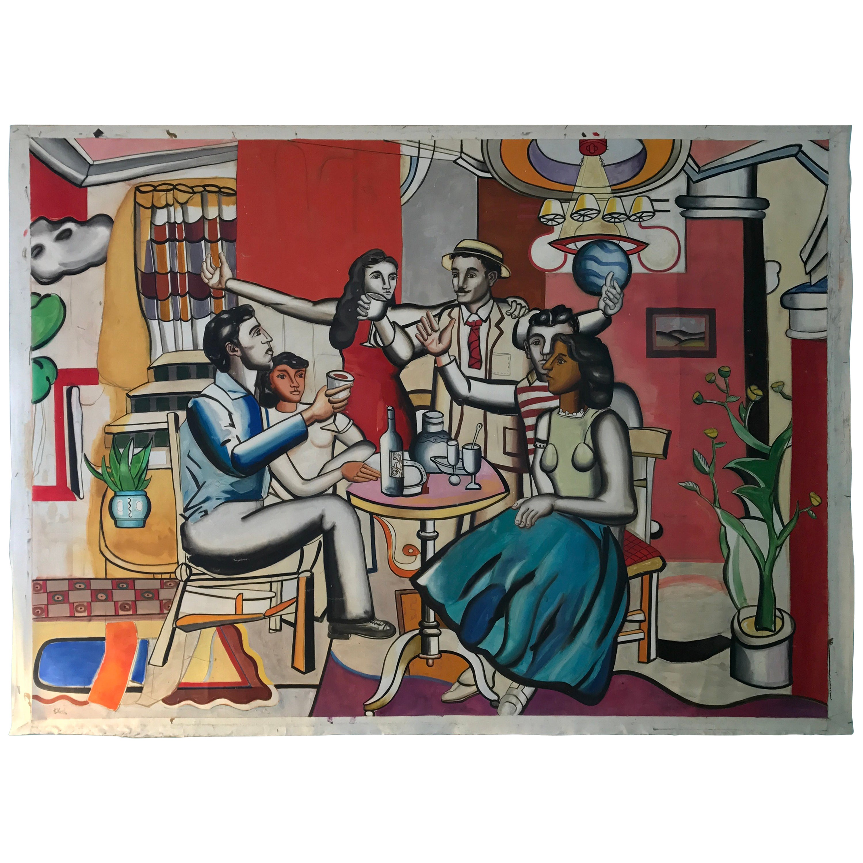 Monumental Oil on Linen Painting by Kevin Koch after Fernand Leger