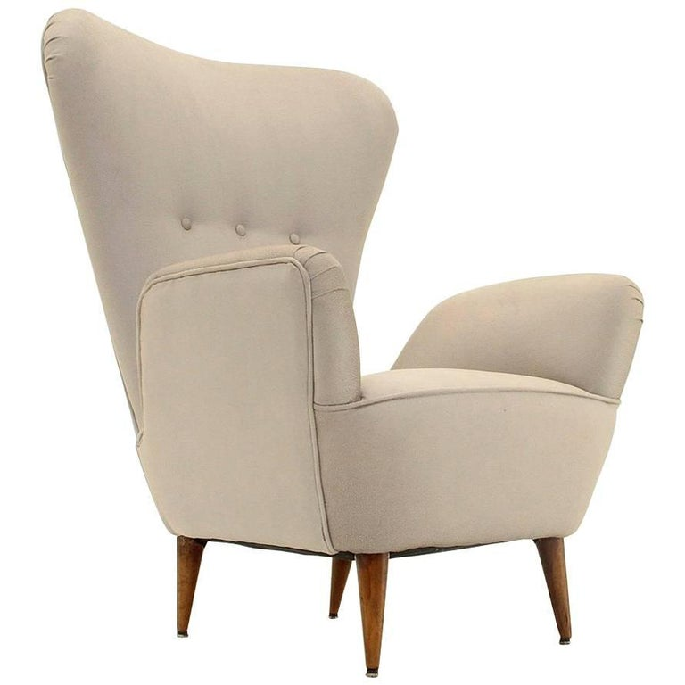 Italian High Back Armchair with Conical Shape Legs
