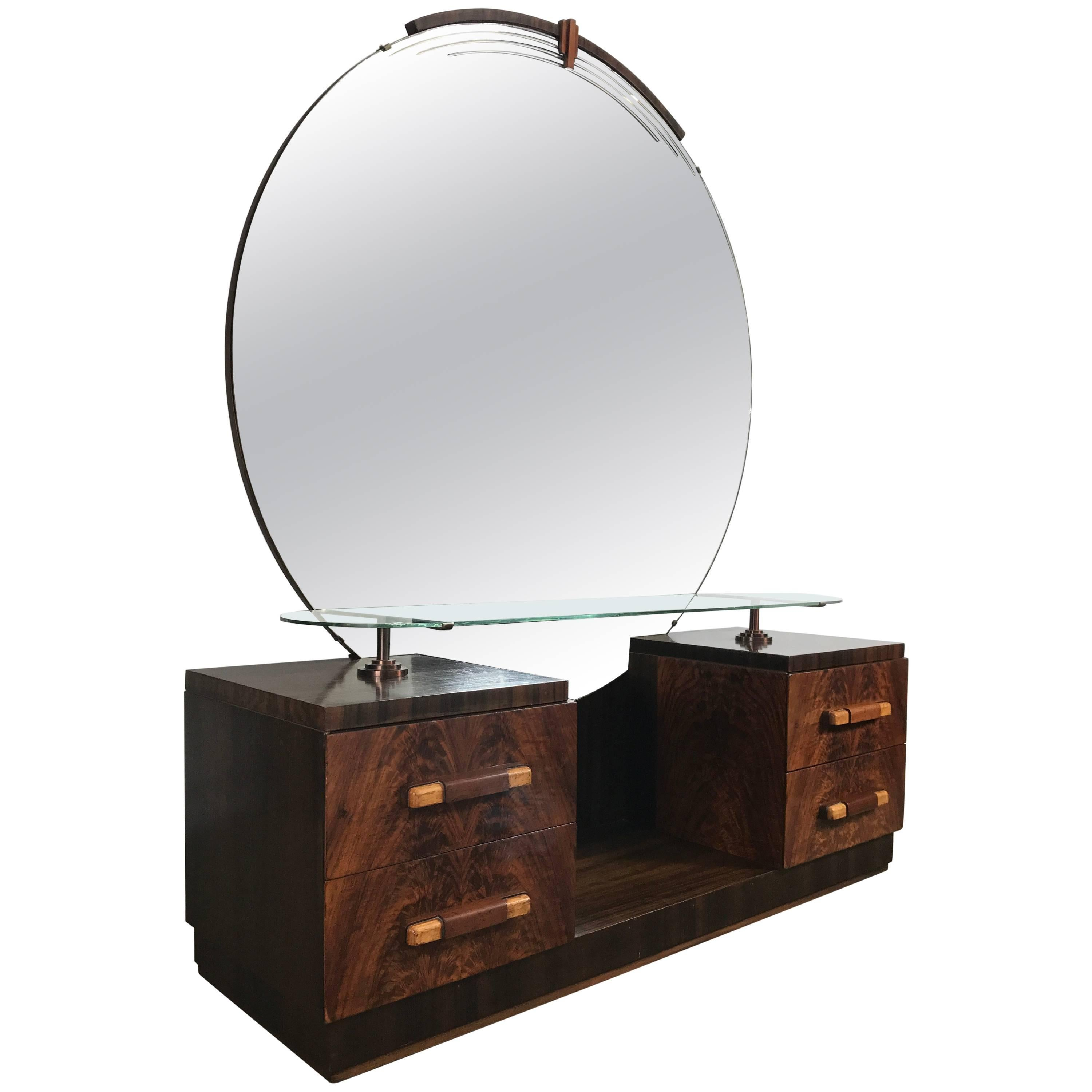 American Art Deco Vanity, Dressing Table, Mirror Manner Of Donald Deskey  For Sale