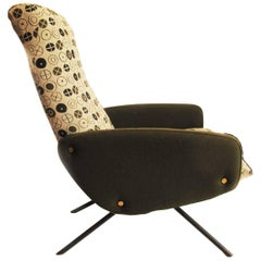 1950s Tubular Iron Frame French Armchair, New Circles Fabric