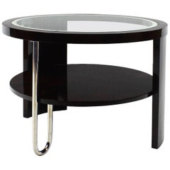 1930s Art Deco Tripod Side Table, Dark Rosewood, Chrome, Glass, Marquetry, Italy