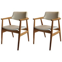 Sven Aage Eriksen Armchairs, Pair of Oak with New Leather