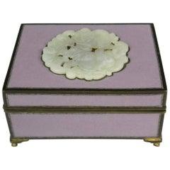 Yamanaka Finest Cloisonné Enamel Box W Jadeite Inlay, circa 1920, Inspired Gift