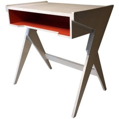 20th Century French White and Red Desk, 1960s