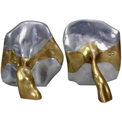 Brass and Aluminium Brutalist Style Bookends by David Marshall, circa 1970s