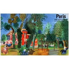 Original Vintage Paris Museum of Modern Art Poster - The Paddock at Deauville