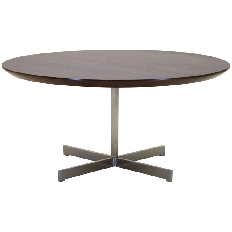 Artimeta Attributed Square Metal And Glass Coffee Table At: Walnut And Stainless Steel Coffee Table For Sale At 1stdibs
