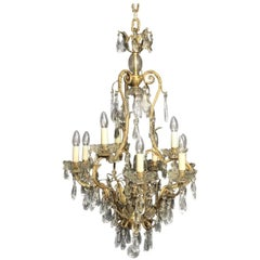 French Gilded Bronze and Crystal Ten-Light Antique Birdcage Chandelier