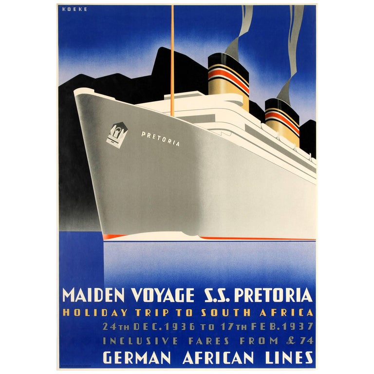 Original German African Lines Poster - Holiday Trip to South Africa - Pretoria