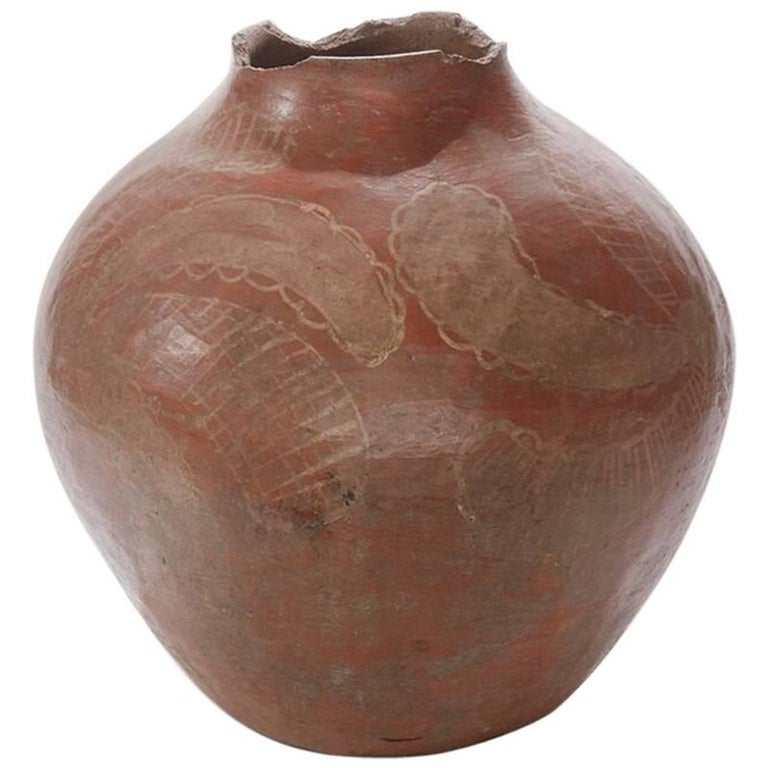 19th Century Painted Clay Country Pot from Brazil