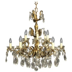 Italian Gilded and Crystal Twelve-Light Antique Chandelier