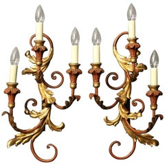 Florentine Pair of Triple Arm Polychrome Wall Lights