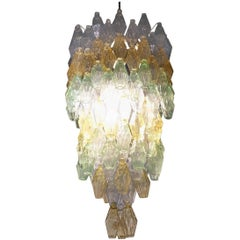 "Large Multi-Color ""Poliedro"" Glass Chandelier by Venini, 1960"