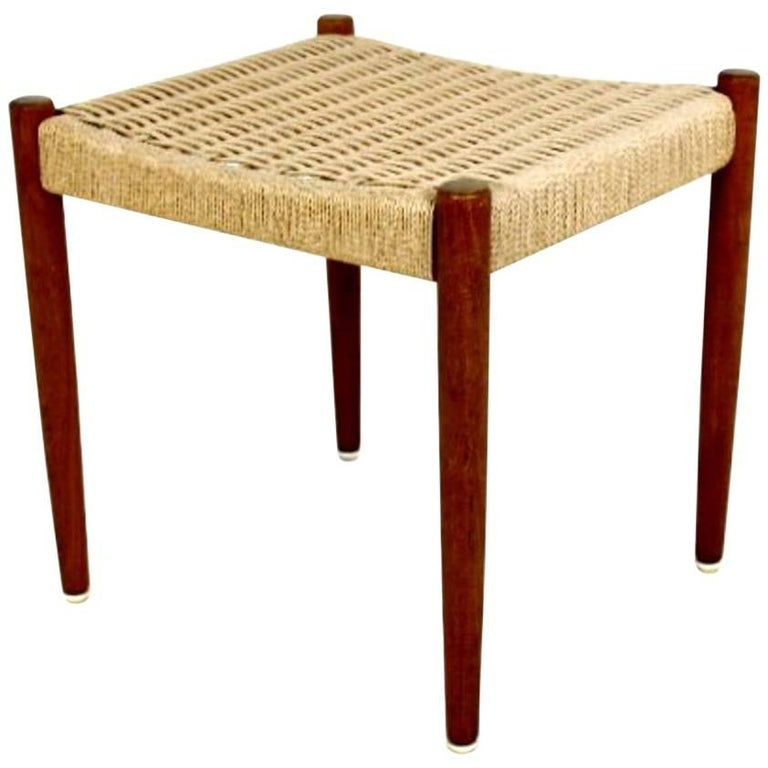 Teak and Papercord Foot Stool by Poul Volther for Frem Rojle, Denmark