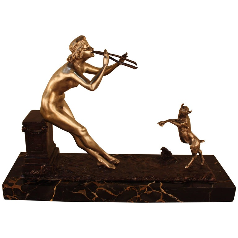 Sculpture of Nude Woman and Dancing Goat by Henri Fugère For Sale