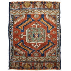 Handmade Antique Collectible Turkish Yastik Rug, 1870s