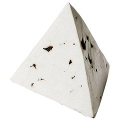 Relic Tetrahedron, Geometric White Porcelain Ceramic Small Sculptural Object