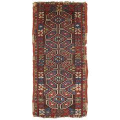 Handmade Antique Collectible Turkish Yastik Rug, 1880s