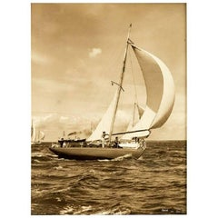 Unusually Large Silver Gelatin Photographic Print of the Yacht Right Royal