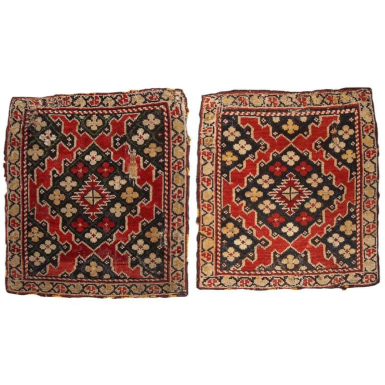 Armenian Antique Rugs: Handmade Antique Collectible Armenian Karabakh Pair Of