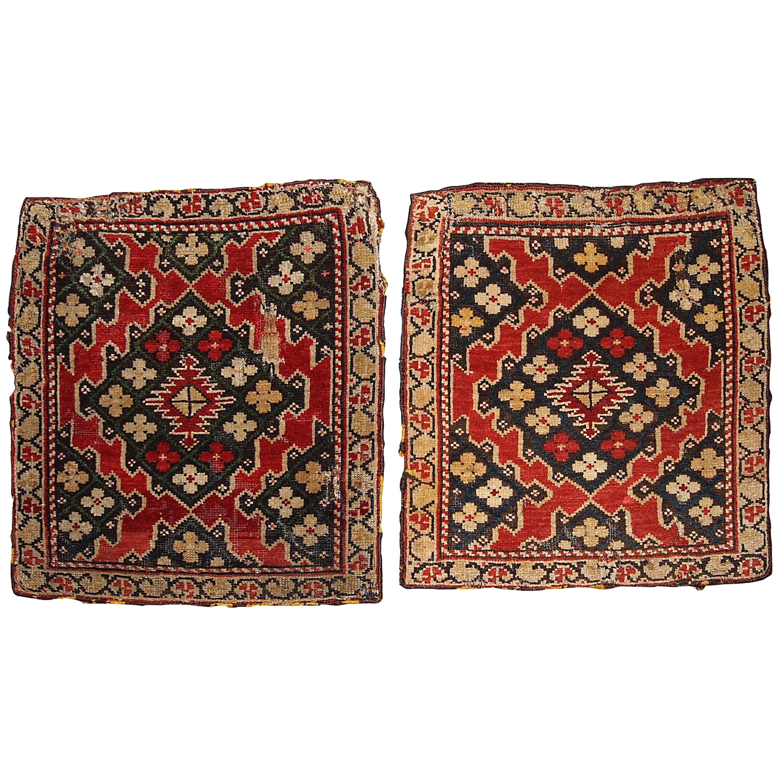 Handmade Antique Collectible Armenian Karabakh Pair Of Rugs, 1880s