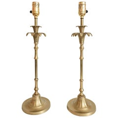 Chinoiserie Faux-Bamboo Palm Tree Brass Buffet Lamps, Pair