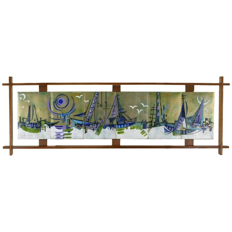 Six-Panel Enameled Brass Abstract Harbor Scene