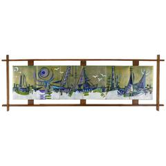 Six-Panel Enameled Brass Abstract Harbor Scene