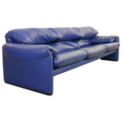 Cassina Maralunga Three-Seat Sofa in Blue Leather by Vico Magistretti