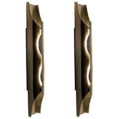 1970s Pair of Brutalist Brass Sconces