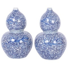 Pair of Chinese Export Style Blue and White Double Gourd Blue and White Vases