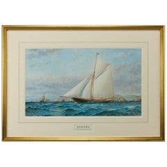 Watercolor of Gaff Rigged Racing Cutter Xanthe off Dartmouth by Barlow Moore