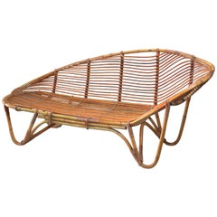 Swedish Bamboo and Rattan Chaise Longue, 1940s