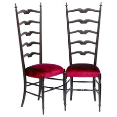 Paolo Buffa, Pair of Chiavari Hall Side Chairs, Restored, French Polish, Velvet