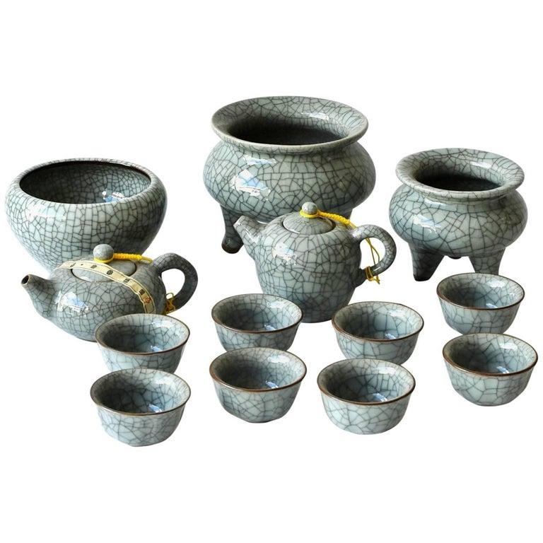 13 Pieces Chinese Porcelain Tea Sets, Incense Burner, Ge Ware