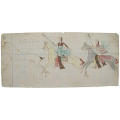Indian Ledger Drawing of Dance Parade with Horses