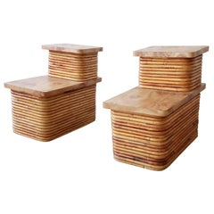 Bamboo End Tables in the Style of Paul Frankl, Pair