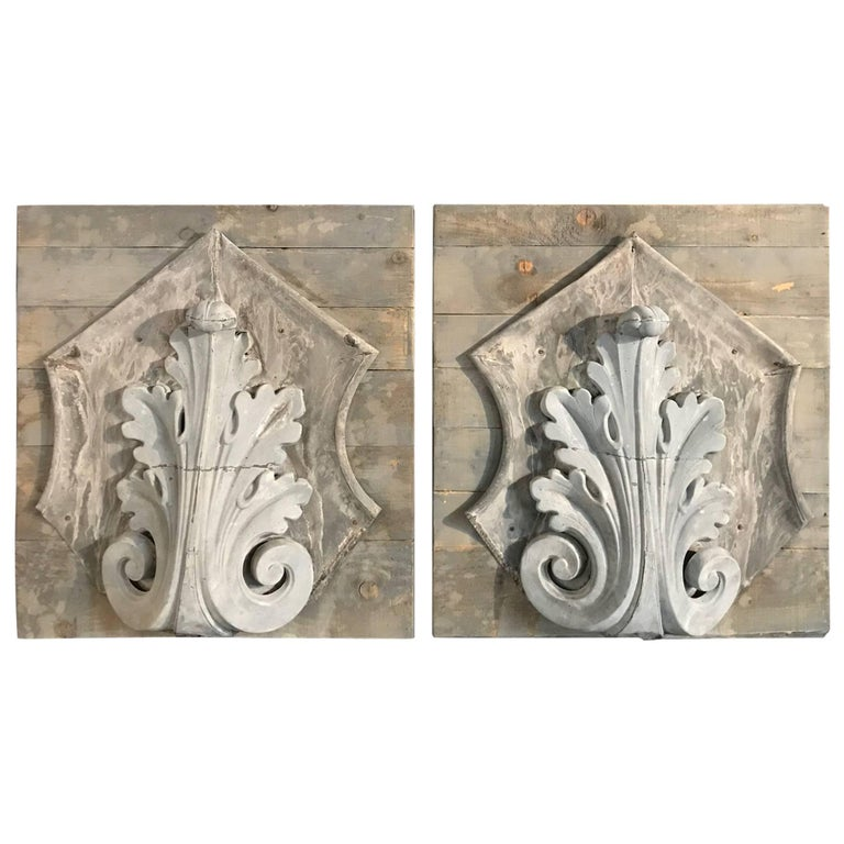 Pair of 19th Century Mounted Zinc Architectural Fragments
